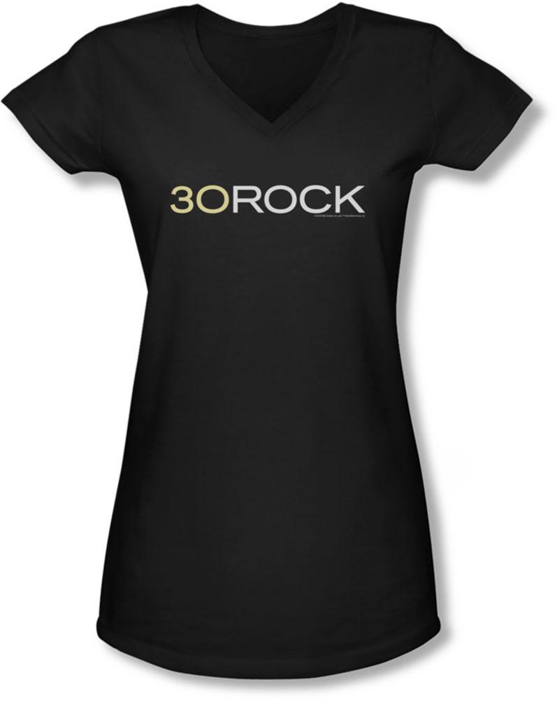 Image of 30 Rock - Juniors Logo V-Neck T-Shirt