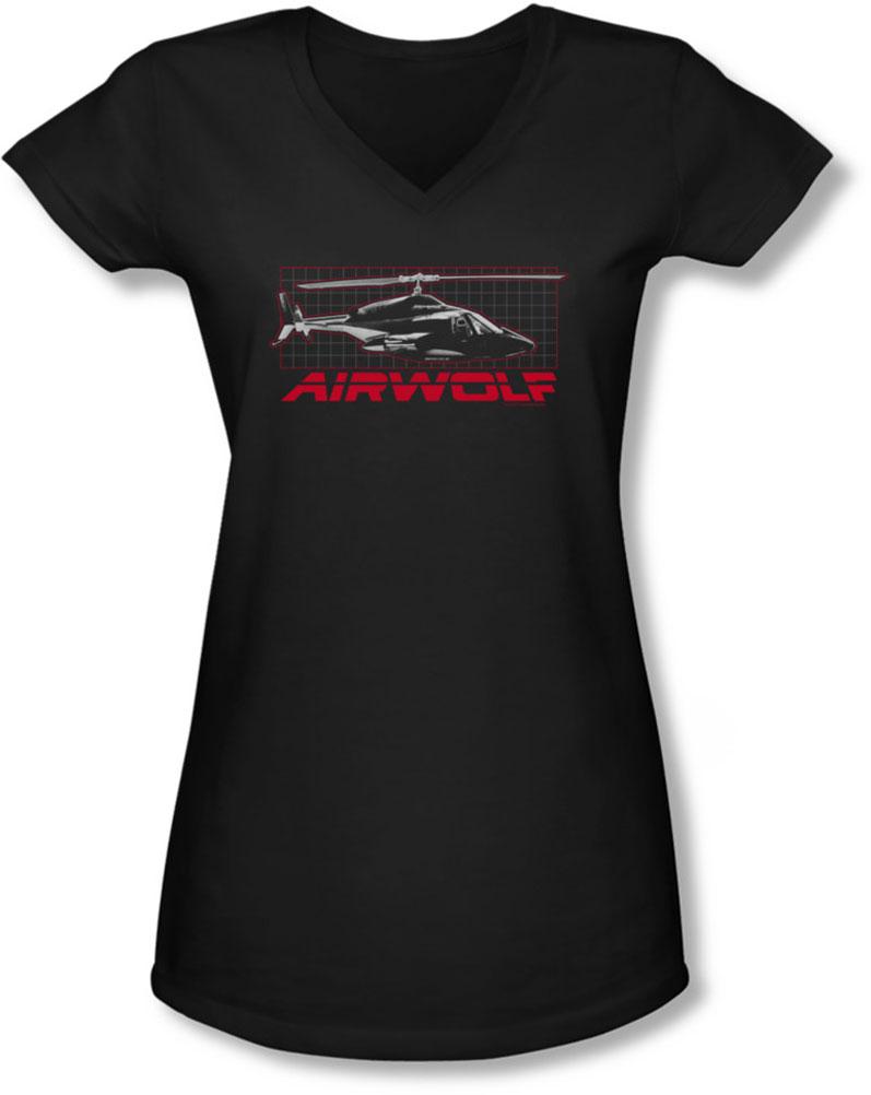 Image of Airwolf - Juniors Grid V-Neck T-Shirt