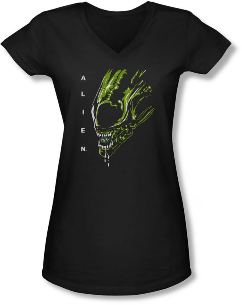 Image of Alien - Juniors Acid Drool V-Neck T-Shirt