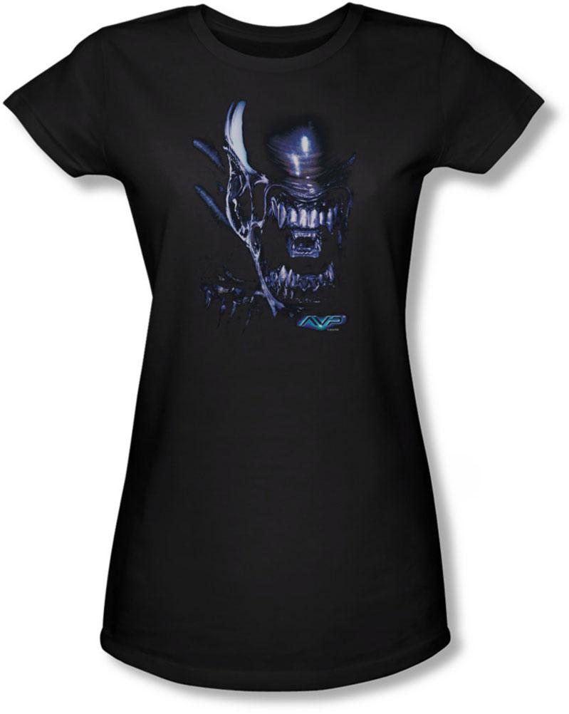 Image of Alien Vs Predator - Juniors Alien Head Sheer T-Shirt