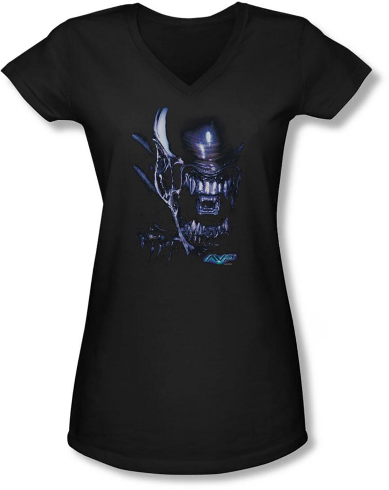 Image of Alien Vs Predator - Juniors Alien Head V-Neck T-Shirt