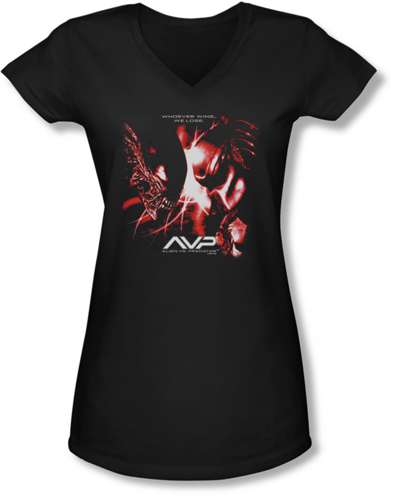Image of Alien Vs Predator - Juniors We Lose V-Neck T-Shirt