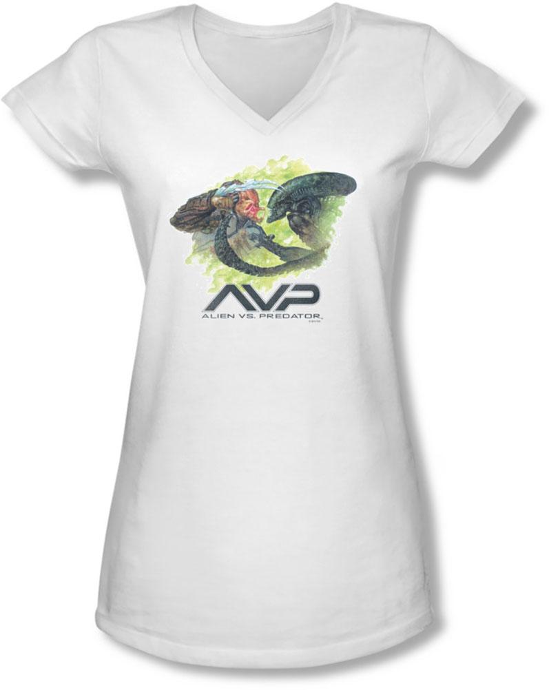 Image of Alien Vs Predator - Juniors Painted Battle V-Neck T-Shirt