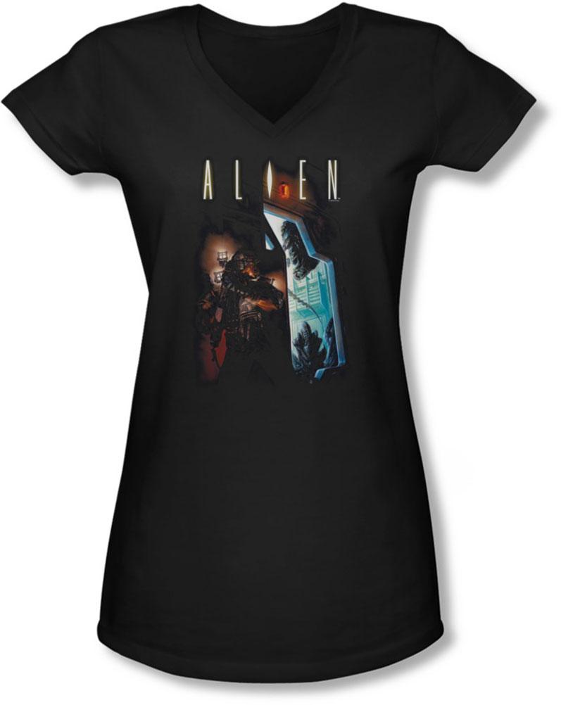 Image of Alien - Juniors Around The Corner V-Neck T-Shirt