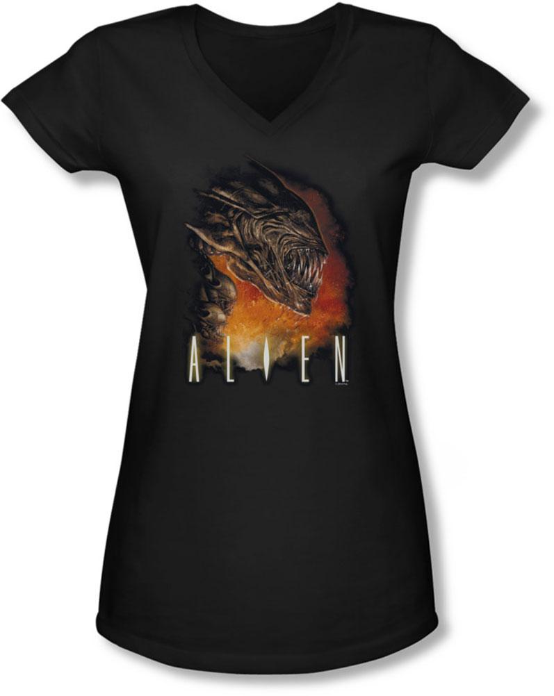 Image of Alien - Juniors Fangs V-Neck T-Shirt