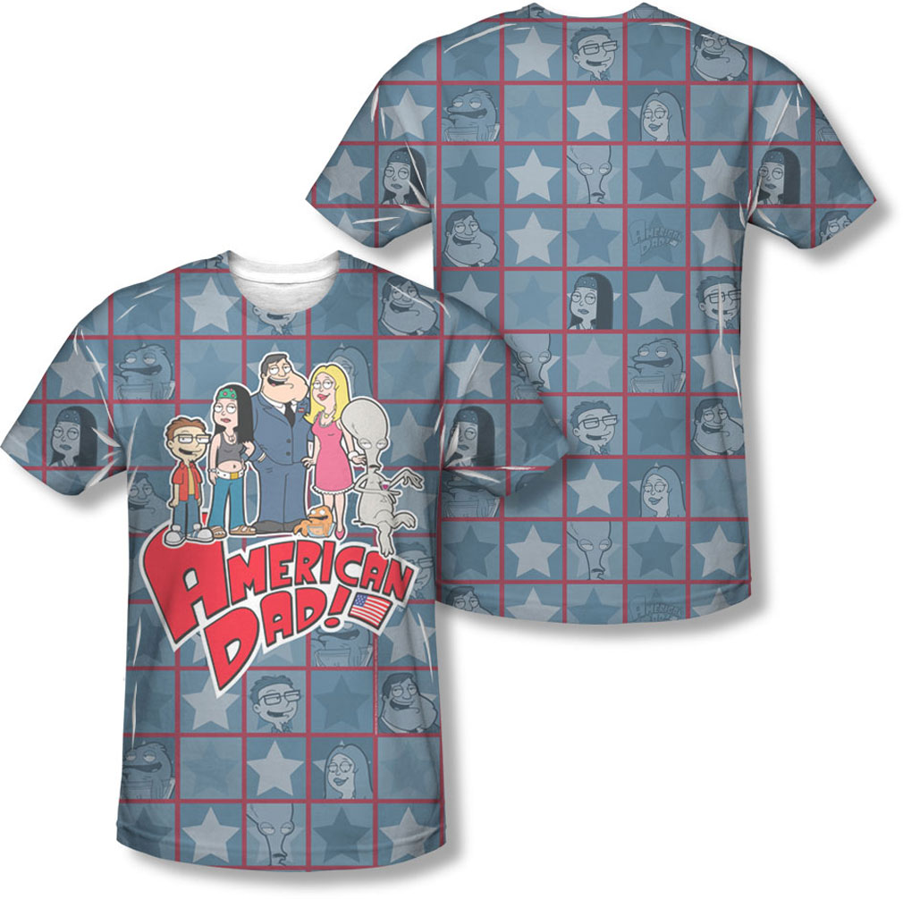 Image of American Dad - Mens Family (Front/Back Print) T-Shirt