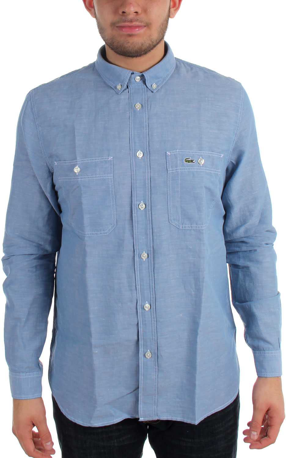 Lacoste mens chambray long sleeve shirt for Chambray long sleeve shirt