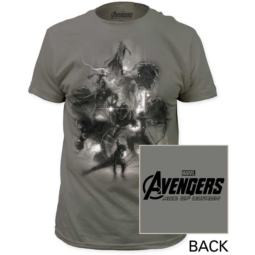 Image of Age of Ultron - Mens Avengers Sketch Fitted Jersey T-Shirt