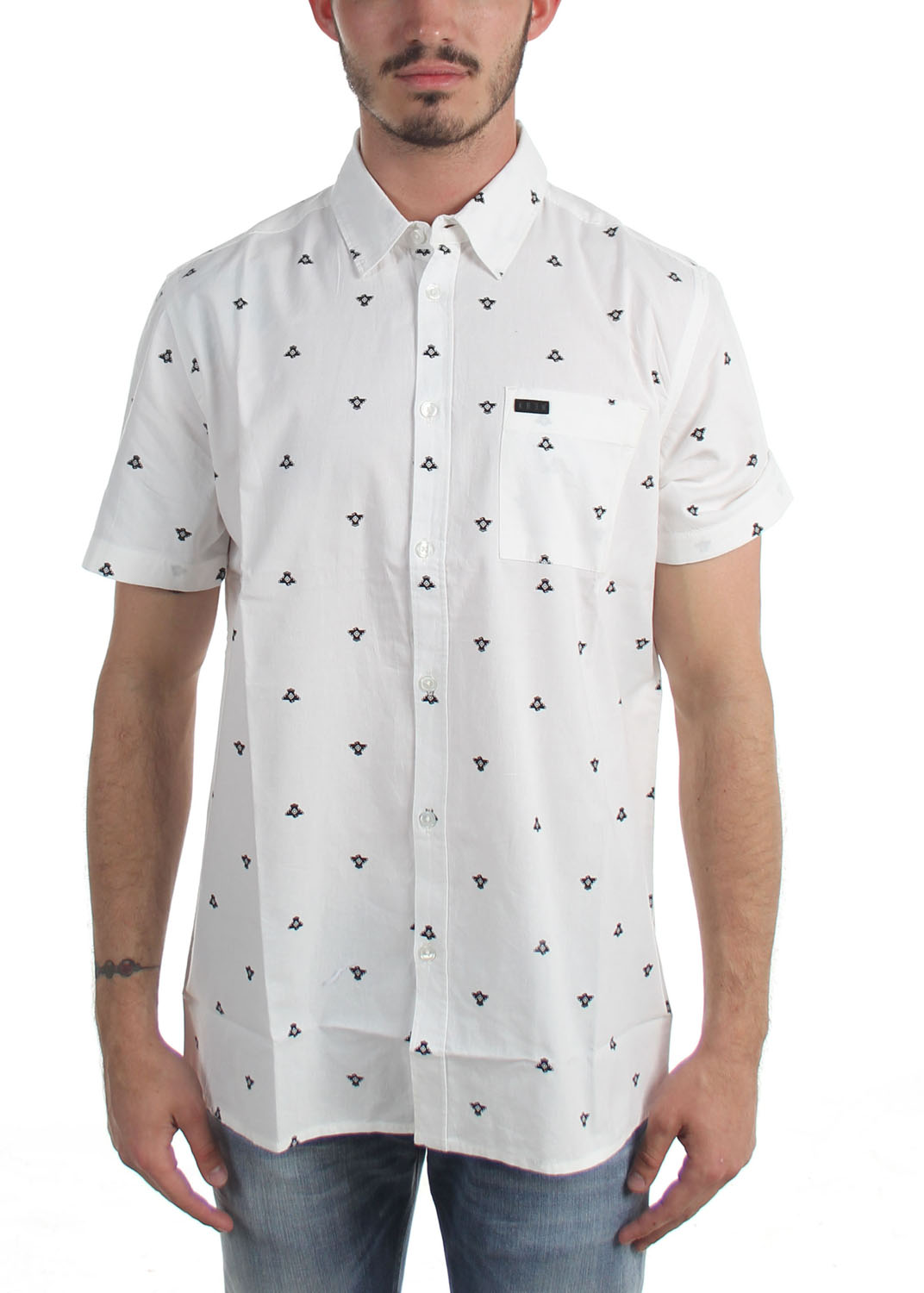 kr3w mens t bird print button down shirt