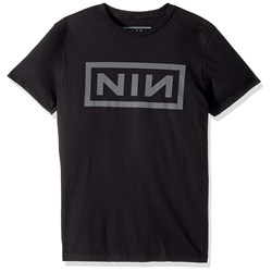 Nine Inch Nails - Mens Grey Logo on Black Soft T-Shirt