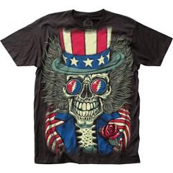 Grateful Dead - Mens Patriotic Skelly Big Print Subway T-Shirt