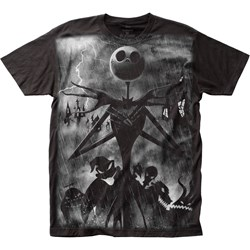 The Nightmare Before Christmas - Mens Rainstorm Big Print Subway T-Shirt
