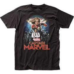 Captain Marvel - Mens Group Shot Fitted Jersey T-Shirt