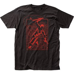 Daredevil - Mens Line Art Fitted Jersey T-Shirt