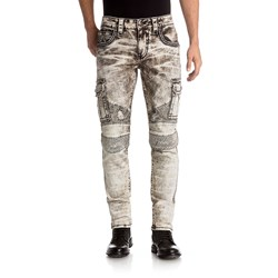 Rock Revival - Mens Bolton Moto Biker Jeans