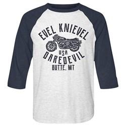 Evel Knievel - Mens Usa Daredevil Baseball Tee