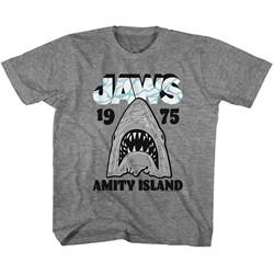 Jaws - Unisex-Child Gray White T-Shirt