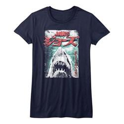 Jaws - Girls Worn Japanese Poster T-Shirt