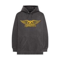 Aerosmith - Unisex-Adult Grey Wing Crest Hoodie