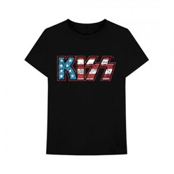 Kiss - Mens Distressed Americana Logo T-Shirt