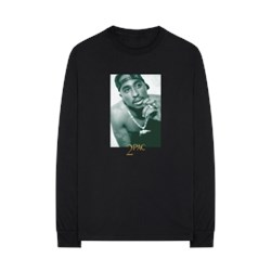 Tupac - Mens Halftone Photo Long Sleeve T-Shirt