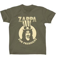Frank Zappa - Mens For President - Military Green T-shirt