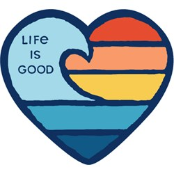 Life Is Good - Wave Heart Small Die Cut Decal Die Cut Stickers
