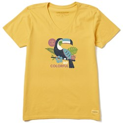 Life Is Good - Womens Colorful Toucan Crusher V Neck T-Shirt