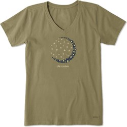 Life Is Good - Womens Crescent Daisies Crusher V Neck T-Shirt