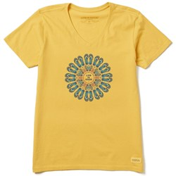 Life Is Good - Womens Flip Flop Mandala Crusher V Neck T-Shirt