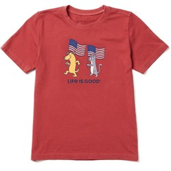 Life Is Good - Boys Dog Cat Flags Ss T-Shirt