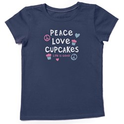 Life Is Good - Kids Peace Love Cupcakes Crusher T-Shirt