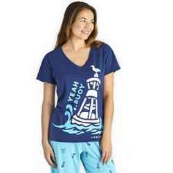 Life Is Good - Womens Yeah Buoy Snuggle Up Relaxed Sleep V Neck T-Shirt