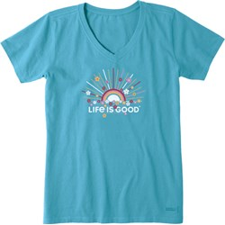 Life Is Good - Womens Rainbow Sun Crusher V Neck T-Shirt