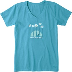 Life Is Good - Womens Towering Daisies Bike Crusher V Neck T-Shirt