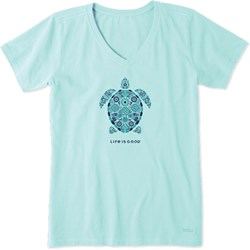 Life Is Good - Womens Turtle Mosaic Crusher V Neck T-Shirt