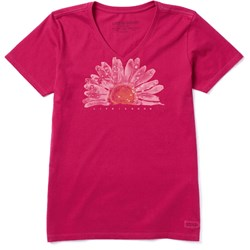 Life Is Good - Womens Watercolor Daisy Crusher V Neck T-Shirt