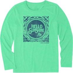 Life Is Good - Womens Hello Sunshine Stamp Ls Cool T-Shirt