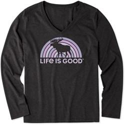 Life Is Good - Womens Spectrum Moose Ls Cool V Neck T-Shirt