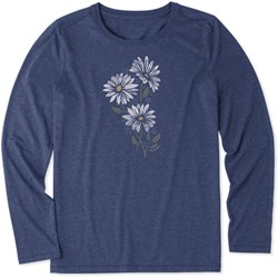 Life Is Good - Womens Strong Daisies Ls Cool T-Shirt