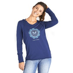 Life Is Good - Womens Lig Butterfly Coin Ls Hooded Smooth T-Shirt