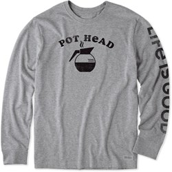 Life Is Good - Mens Coffee Pot Head Crusher Long Sleeve T-Shirt
