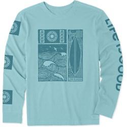Life Is Good - Mens Woodblock Beach Crusher Long Sleeve T-Shirt