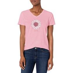 Life Is Good - Womens French Daisy Crusher V Neck T-Shirt