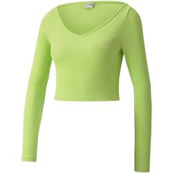 PUMA - Womens Classics Ribbed Longsleeve Cropped Top T-Shirt