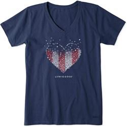 Life Is Good - Womens Short Sleeve Crusher Vee Heart Stars And S T-Shirt