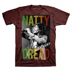 Bob Marley - Mens Natty Dread Maroon T-Shirt