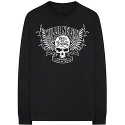 Willie Nelson - Mens Born For Trouble Skull Wings Longsleeve T-Shirt