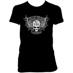 Willie Nelson - Womens Born For Trouble Skull Wing T-Shirt