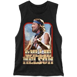 Willie Nelson - Mens Vintage Gold Muscle Tank T-Shirt